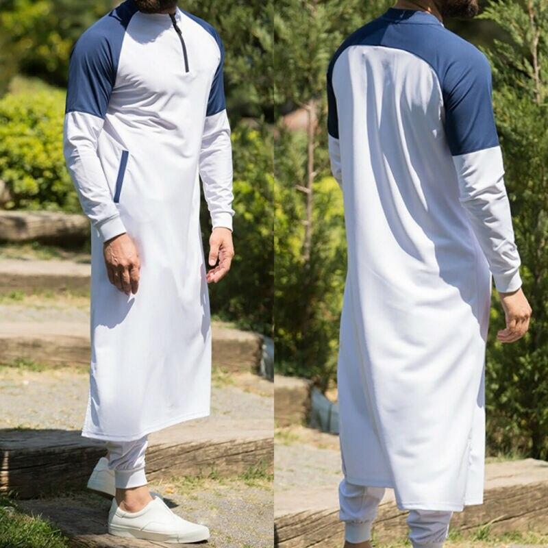 Men's Thawb Middle East Muslim Arab Robe Islamic Dress Kaftan Dubai Maxi Thobe