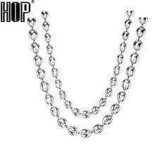 HIP Hop – collier en forme de grains de café pour homme, bijoux en acier inoxydable, couleur or, argent, 7MM, 9MM, 11MM