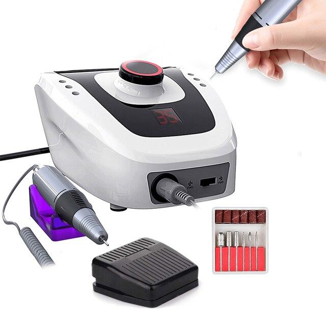 Máquina pulidora eléctrica para uñas, aparato para manicura y pedicura con cortador de uñas artístico, 35000/20000 RPM