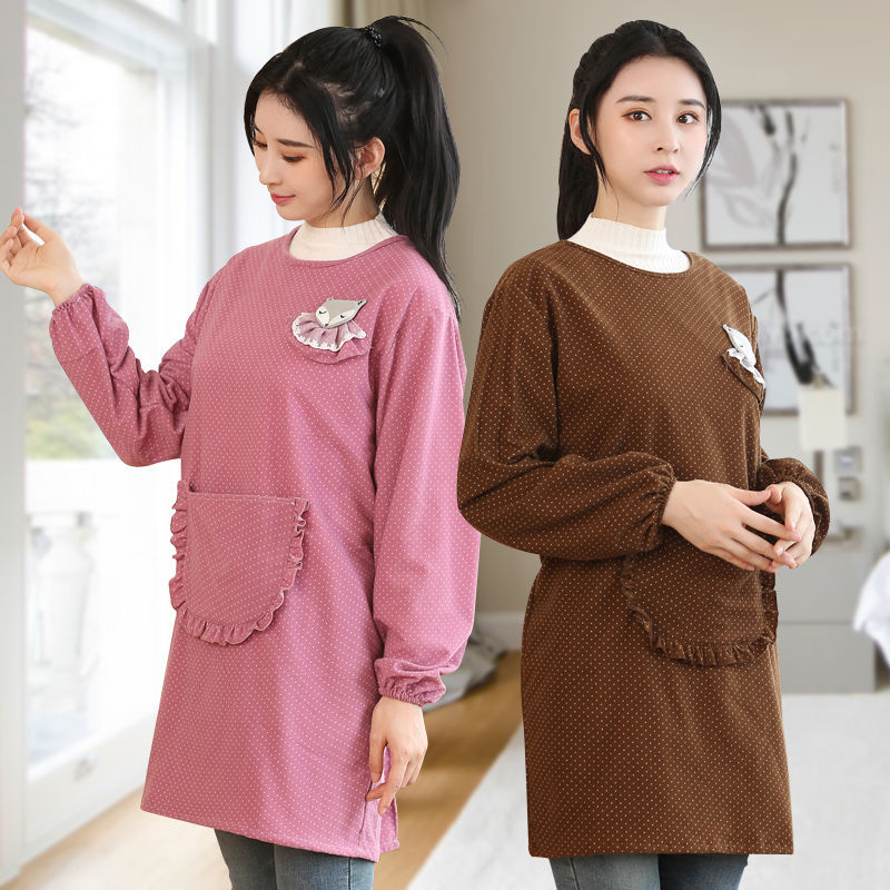 Kitchen Adult Korean-style Fashion Corduroy Overclothes Apron Protective Clothing Long Sleeve Women's Cooking Cute Household Wor