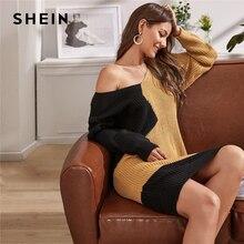 Shein 여러 가지 빛깔의 v 목 두 톤 캐주얼 느슨한 스웨터 드레스 벨트 여성없이 2019 가을 긴 소매 짧은 스트레이트 드레스