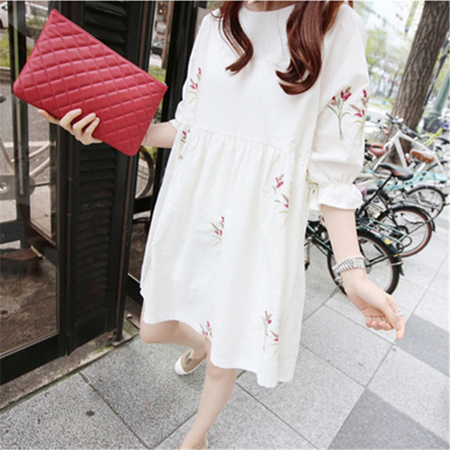 Loose Summer Maternity Dresses of Cotton 4