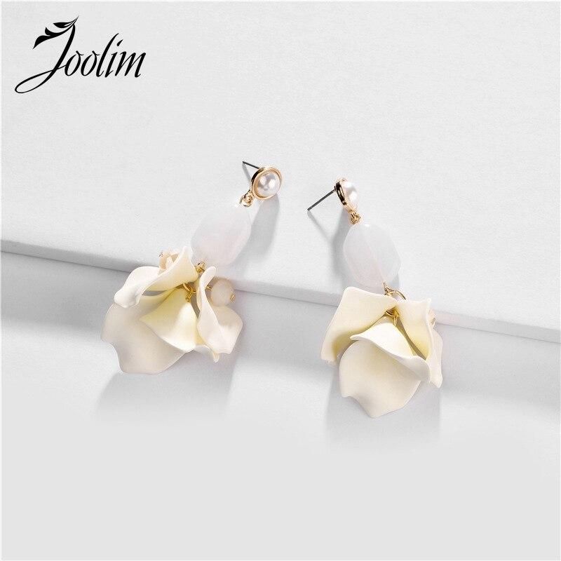 Joolim White Resin Flower Drop Earring Dangle