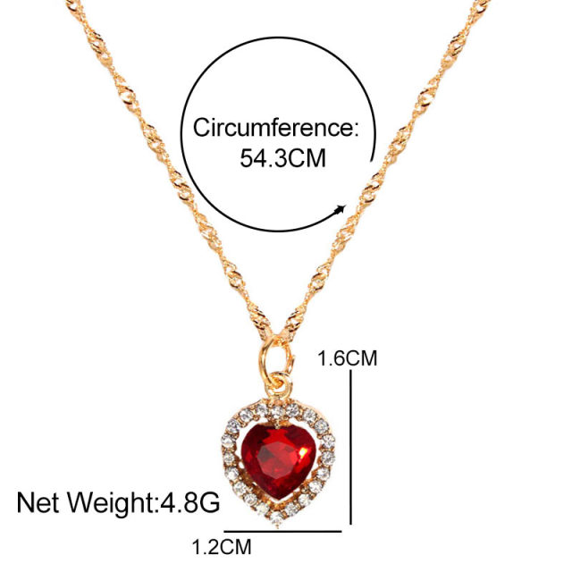 Flatfoosie Shiny Heart Crystal Pendant Necklace for Women Exquisite Gold Silver Color Twist Chain Necklace Fashion Jewelry Gift 6
