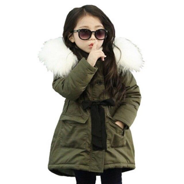 3 9 Y nouvelles filles coton longue veste et vêtements dextérieur floue épaissir enfants vêtements dhiver chaud manteau fourrure à capuche Snowsuit enfants de haute qualité