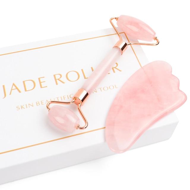 Portable Rose Quartz Facial Massage Crystal Stone Face Lift Jade Massager Roller Set Skin Care Wrinkle Removal Tool for Women