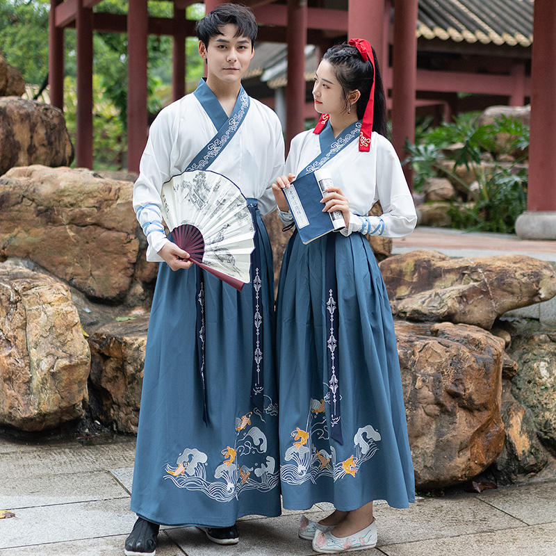 2019 Autumn New Hanfu Dress Chinese Retro Embroidered Costumes Tang Dynasty Couple Clothes Men & Women Cosplay Outfit DQL2603
