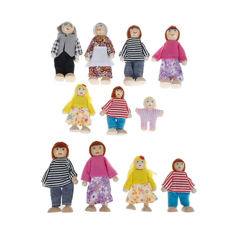 Маленький деревянный счастливый кукольный домик, семейные куклы, набор игрушек, фигурки, одеты персонажи, дети, играющие куклы, подарок для ...