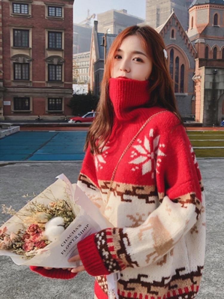 Купить рождественский свитер с воротником под горло для женщин зима