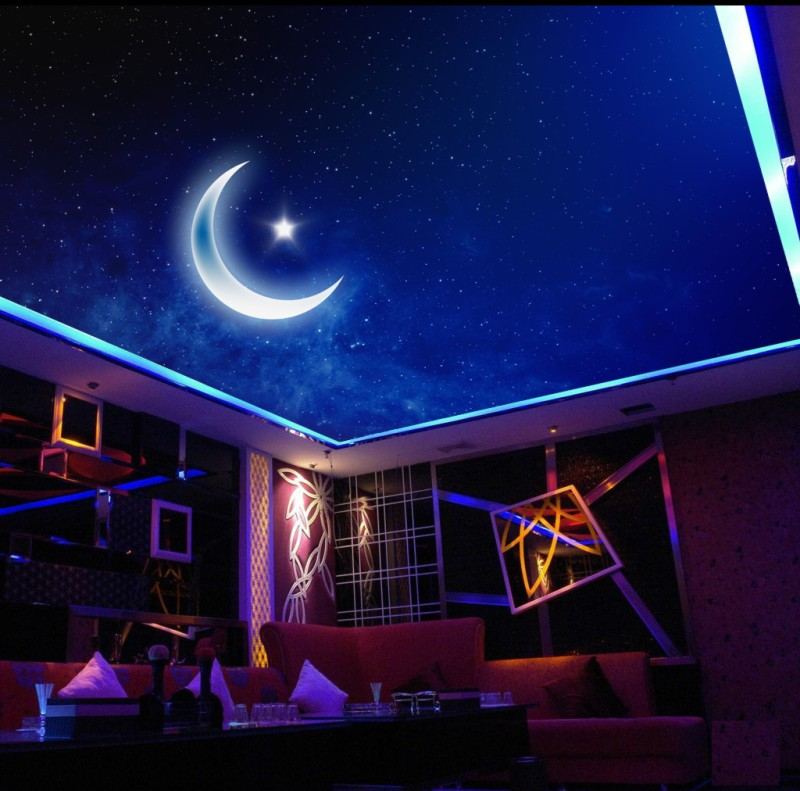 Night Sky Moon Living Room Bedroom Ceiling Mural Hoto Wall Paper Living Room Mural Natural Straw Wallpaper