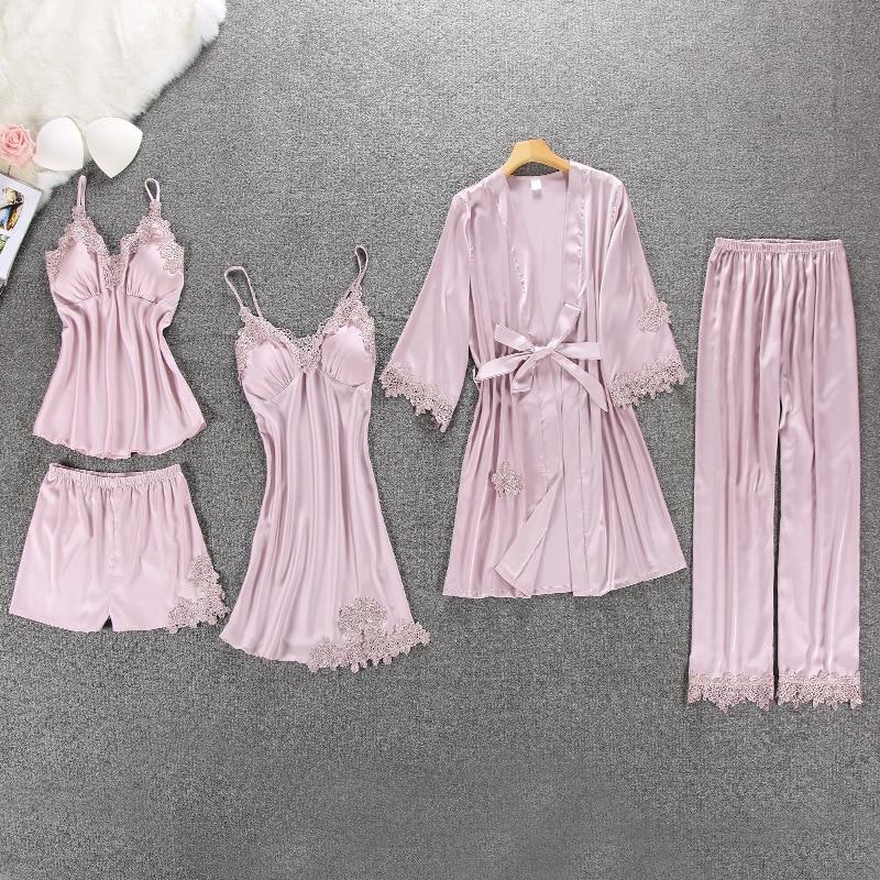 QWEEK Sexy Women Pajamas 5 Pieces Sets Satin Sleepwear Pijama Silk Home Wear Embroidery Sleep Lounge Pyjama With Chest Pads