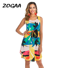 ZOGAA Women Cotton Floral Print Sleeveless Bandage Dress 2019 Female Casual Summer Beach Long Maxi Dresses with Belt Sundresses