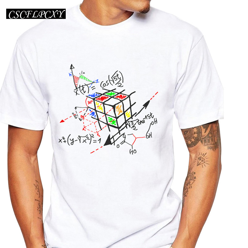 2019 New Fashion Math Work Design Men T-shirt Short Sleeve Hipster Tops  Cube Printed T Shirts Cool Tee