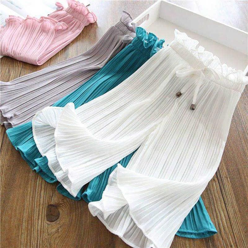 Toddler Kid Girls Solid Ruffle Anti-Mosquito Casual Long Chiffon Pants Trousers