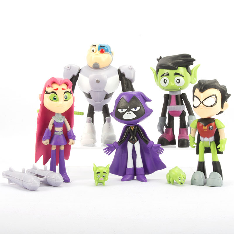 1Set Teening Titans Action Figures Toys Young Robin Beast Boy Cyborg Starfire Raven Collectible Dolls PVC Models Toys image