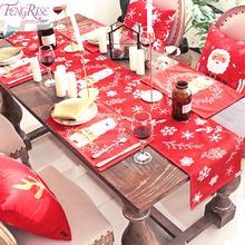 Natale Navidad, красное льняное рождественское настольное украшение для дома, Рождественское украшение, новогодний декор