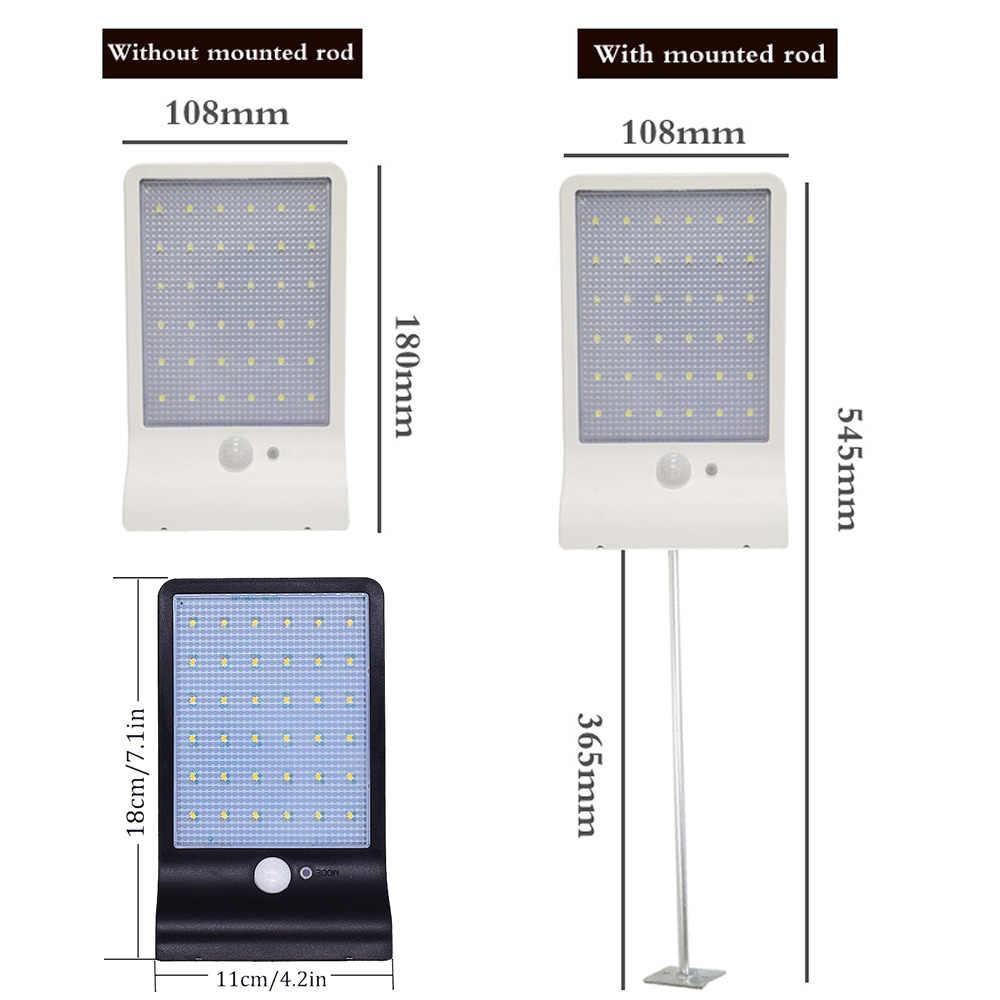 เสาอลูมิเนียม SOLAR Street Light 36/48 ไฟ LED พลังงานแสงอาทิตย์สามโหมดสีดำสีขาวกันน้ำกลางแจ้งสวนกำแพงรั้วความปลอดภัยใหม่