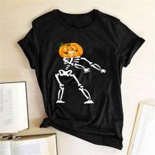 Dyniowa głowa z nadrukiem szkieletu Halloween koszulki z krótkim rękawem dla kobiet letnia koszulka z grafiką Streetwear koszulki z krótkim rękawem dla kobiet bawełniane bluzki damskie z krótkim rękawem tanie tanio Hillbilly CN (pochodzenie) Lato COTTON Poliester REGULAR Suknem Drukuj T11638 NONE Na co dzień Osób w wieku 18-35 lat