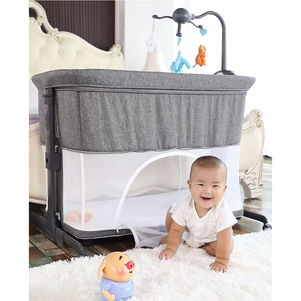 Mumsmile European Style Baby Bed Multifunctional Newborn Solid Wood Bedside Crib Portable Splicable With Mosquito Net Suitable 0