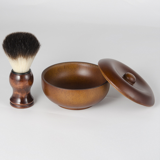 Men's Manual Beard Care Set Facial Care Wood Shaving Kit Beard Brush Home Bathroom Grooming Tool 5