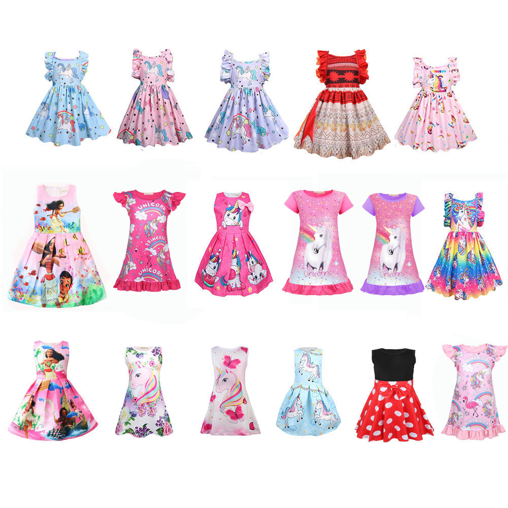 Lol Unicorn Girls Dress Cotton Robe Fille Children's Vestido Infantil Frocks Kids Dresses For Girls Sleeveless Costume Summer