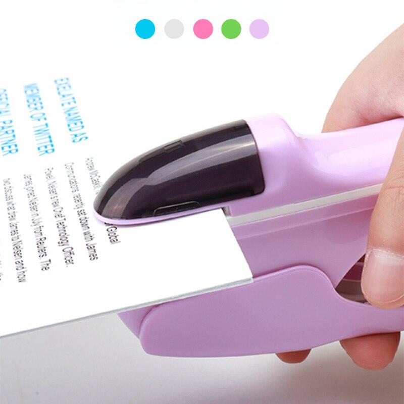 Hand-Held Mini Safe Stapler Free Stapleless Without Staples Stapler 7 Sheets Capacity Paper Stapler Office Bookbinding Supplies