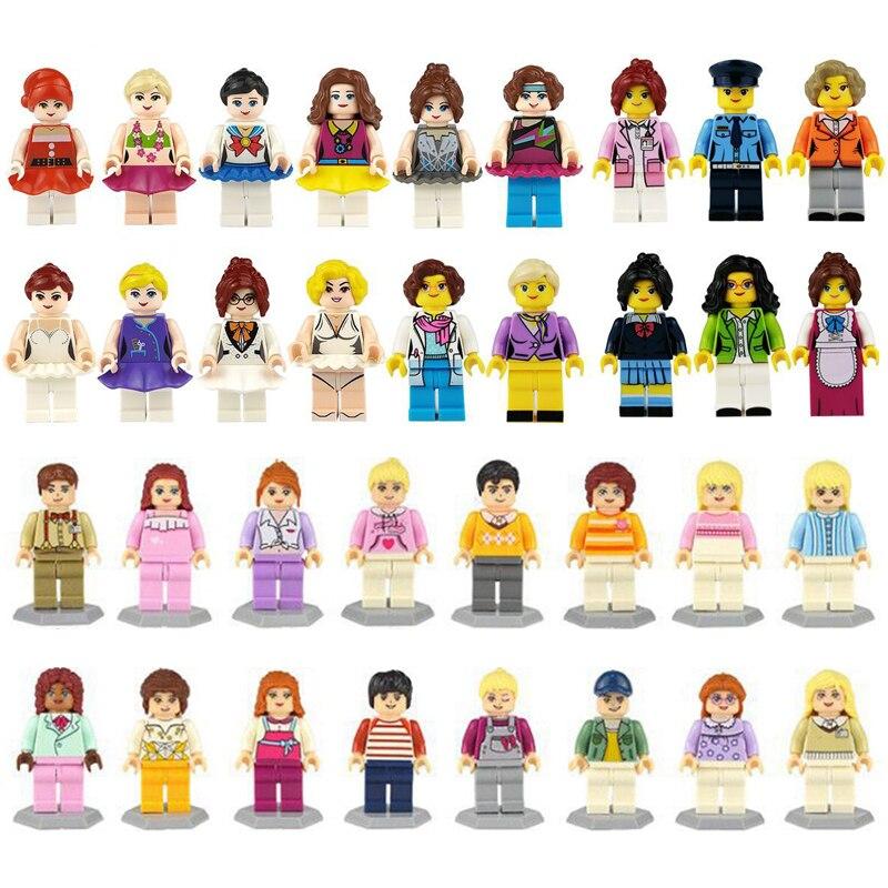 36 sztuk/partia dziewczyna przyjaciel Mini Doll rysunek bloki zabawki dla dziewczynek modelu budynku zestaw cegieł zabawki dla dzieci Christmas Gift playmobilKlocki do układania   -