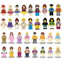 36 قطعة/الوحدة فتاة صديق دمية صغيرة الشكل كتل لعبة للبنات نموذج بناء عدة الطوب لعب للأطفال هدية عيد playmobil
