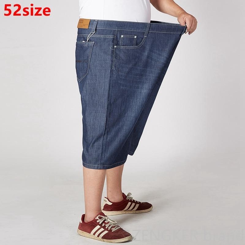 Summer Thin Section Men's Plus Size Denim Shorts Loose Straight Denim Oversized 52 50 48 46