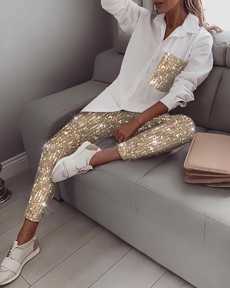 1 Set  Women Sets Sequins Long Sleeve Shirt Turn-Down Collar Casual Elastic Glitter Shiny Pants Autumn Streetwear Ladies Sets