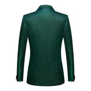 Image 2 - PYJTRL Moda Brilhante Azul Verde Roxo 2 Peças Conjunto Ternos de Casamento Para Os Homens Smoking Do Baile de finalistas Do Partido DJ Cantoras Traje Homme coro
