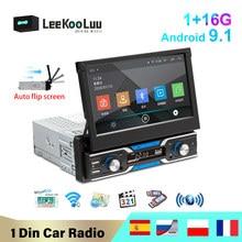 LeeKooLuu 1 Din Android 9.1 Car Radio 7'' Auto Retractable Screen Stereo GPS Navigation WiFi Bluetooth Multimedia Player no DVD