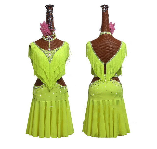 New Green Tassel Latin Dance Dress Women Competition Performance Clothing High end Fluorescent Green Fringed Skirt Costumes