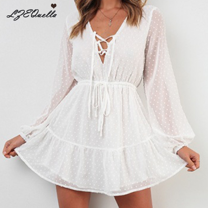 LZEQuella Long Sleeve Chiffon Mini Dress Party Ruffles Lace Up Dresses Sexy V Neck Summer White Dresses Vestidos NZ1445