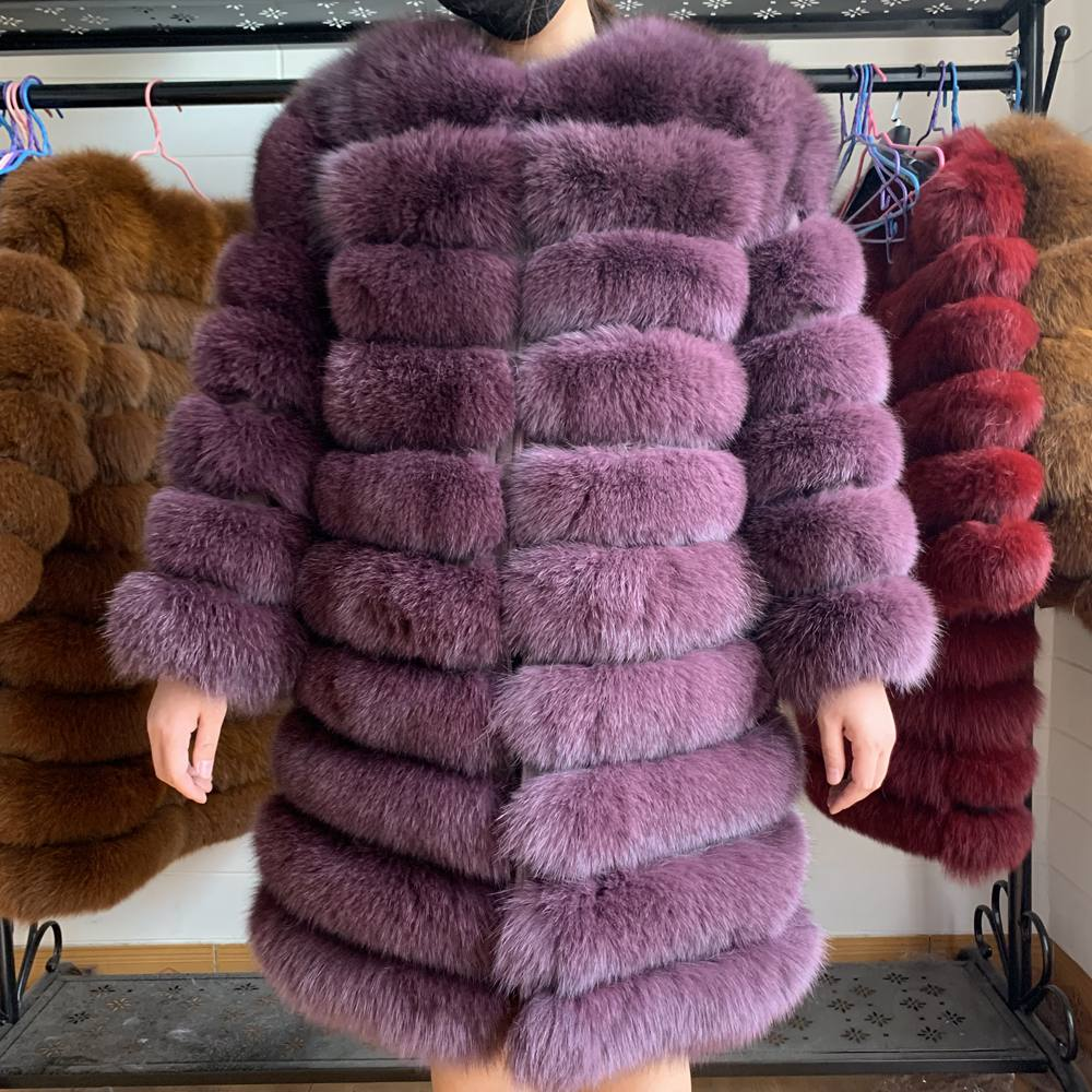 New Natural Real Fox Fur Coat Winter Women Long Style Genuine Real Fur Jacket Female Quality 100% Real Fox Fur Overcoats