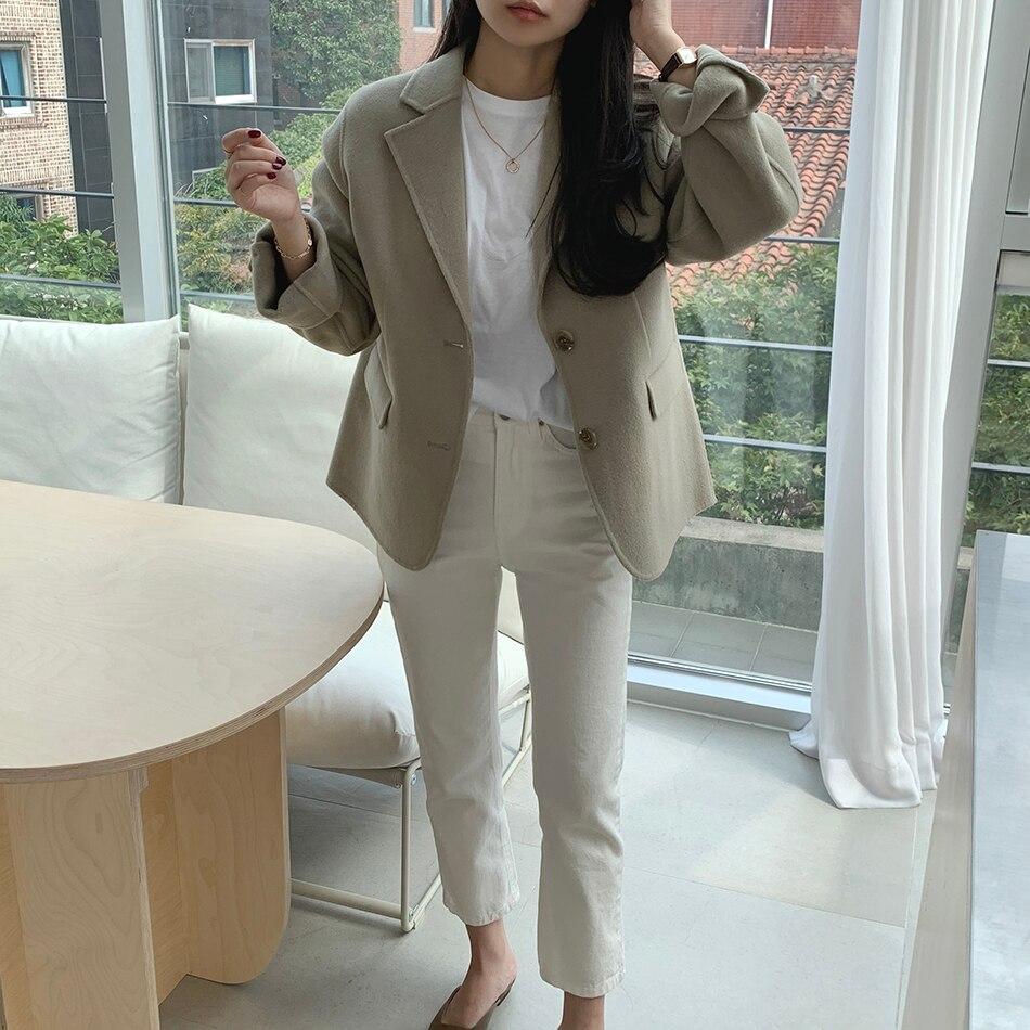 H716b731c3e2f43be9a185869f0bbc60fj - Winter Korean Revers Collar Solid Woolen Short Coat