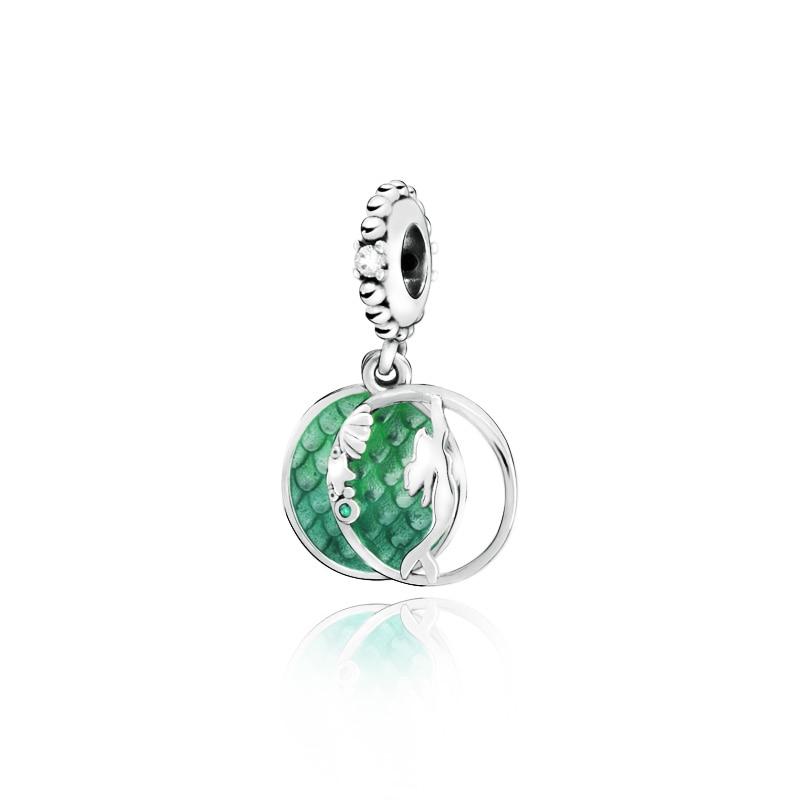 2019 Autumn New 925 Sterling Silver Mermaid Green Ocean Charm Beads Fit Original Pandora Bracelets Women DIY Jewelry