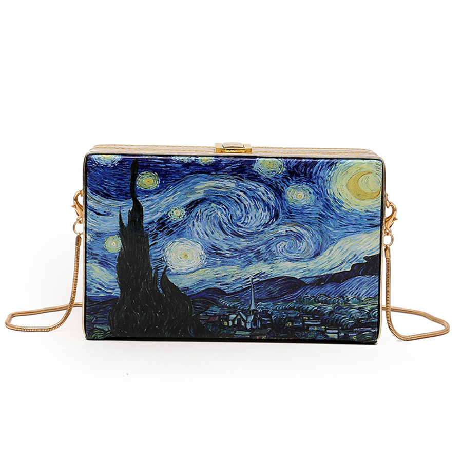 Fashion Cartoon Oil Painting Crossbody Bags For Women Vintage Starry Style Box Ladies Messenger Shoulder Bag Party Clutch Mini
