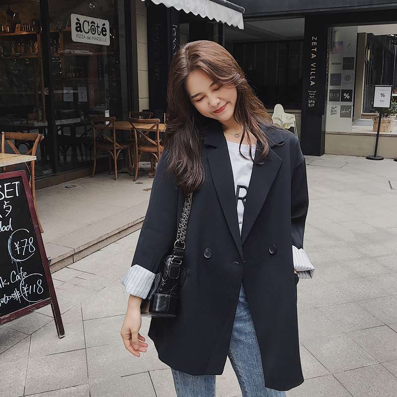 Vintage Stylish Ladies Blazer Solid Black Loose Casual Suit Jacket Long Sleeve Abrigos Korean Party Women's Clothing New MM60NXZ