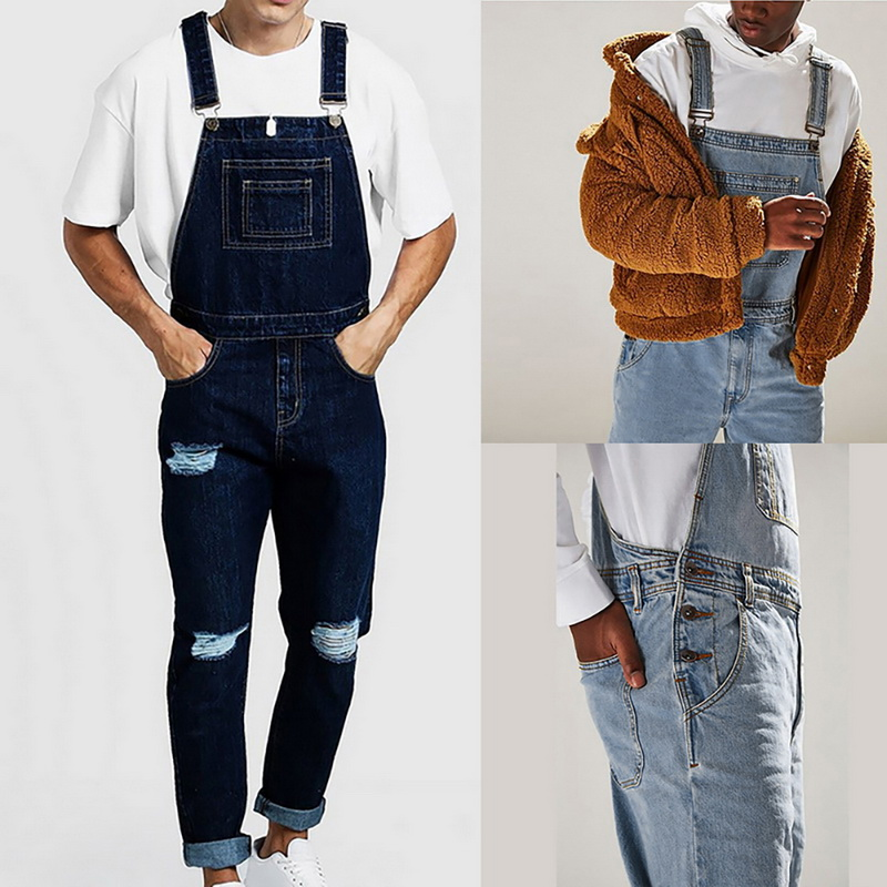 Men Casual Jeans Denim Strap Jean Jumpsuit Loose Fitting Sleeveless Casual Feminino Overalls Dungarees Playsuit