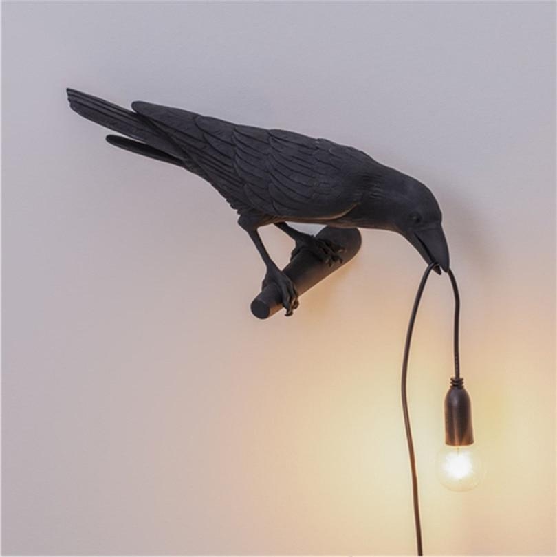 Lámpara LED de diseño para pájaros, lámpara de pared con cable conector, luces de mesita de noche para sala de estar, decoración para el hogar o para el pasillo, luz de pared con pájaro, fijación|Lámparas de mesa LED|   - AliExpress