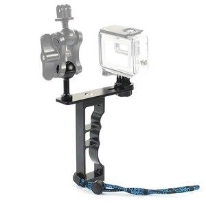 Image 3 - Adecuado para Gopro Gama Completa Dslr Cámara Cnc aleación de aluminio de una sola mano de buceo fotografía soporte de mano soporte de la cámara