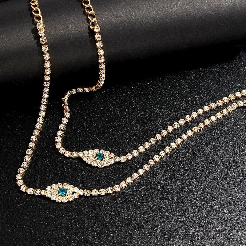 Fashion 2Pcs/Set Bohemia Blue Evil Eye Crystal Anklets For Women Rhinestone Bracelet On The Leg Gold Tennis Women's Chain Anklet