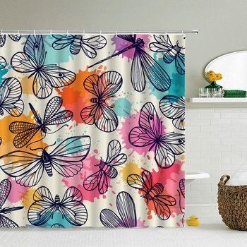 3D Butterfly Shower Curtains For Bathroom Waterproof Polyester Cloth Bathroom Curtain Print 240X180 Shower Curtain With Hooks image