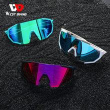WEST BIKING Bicycle Sunglasses 3 Lenses Anti-UV Polarized Cycling Glasses MTB Sports Goggles Men's Women Bike Cycling Eyewear