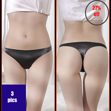 3PC Thongs Women 's Underwear Ladies Briefs Sex Appeal Breathable  Ice Silk Low Waist One- Piece Seamless Lingerie 173