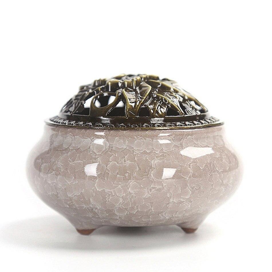 Quemadores de incienso de cerámica, incensario de porcelana portátil, soporte de incienso budista, casa de té para Yoga en estudio