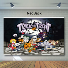 NeoBack Happy Halloween Backdrop Trick or Treat Kids Children Night Photography Backdrops Cartoon Character Photo Background