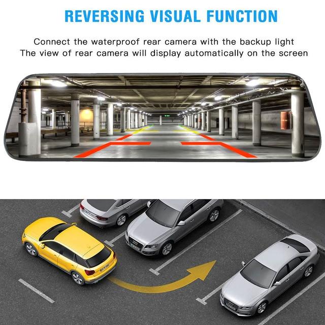 "Cámara de salpicadero 1080P Car DVR 10 ""Stream espejo retrovisor pantalla táctil Super visión nocturna cámara Video grabadora Auto registrador Dashcam"