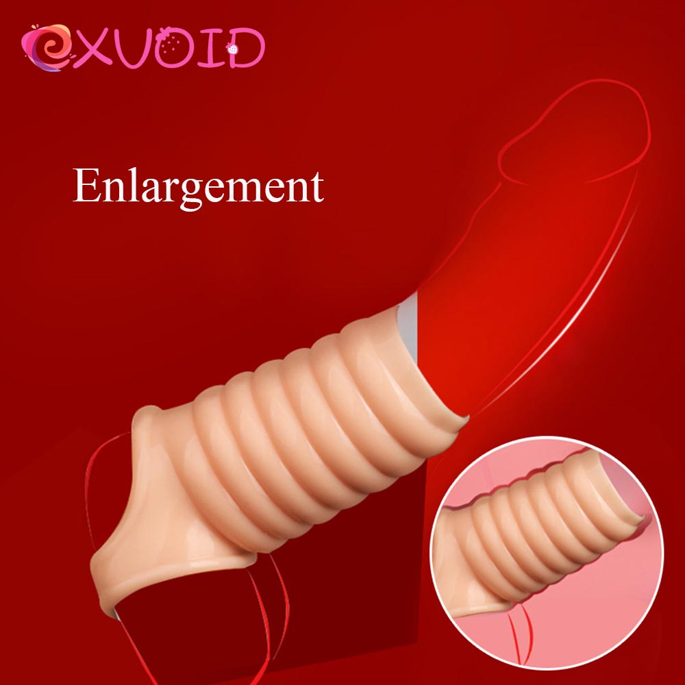 EXVOID Penis Sleeve Delay Ejaculation Reusable Condom Dildo Enlargement Adult Products Sex Toys For Men Penis Erection Cock Ring